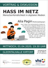 Einladung zur Veranstaltung Hass im Netz am 01.04.2020 in Kirtorf